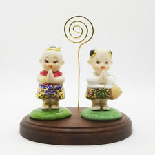 Twin Little Boy & Girl Resin Hand Paint Gold THAI Cute Animal Figure Decor Craft