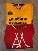Lot Of 2 Vintage Athletic Air Knit Hockey Jersey Size S M Medford Yellow Red