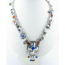 925 Sterling Silver Spiney oyster Peridot Amber Lapis Charm Cross Necklace