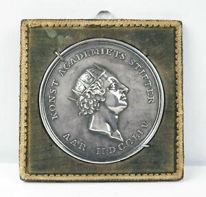 Médaille argent Danemark 1754 Academy of Arts P L Giannelli Silver Denmark medal