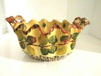 """ITALICA ARS Hand Painted POTTERY Bowl -WITH HANDLES Made in Italy 11""""x7"""" Wide"""