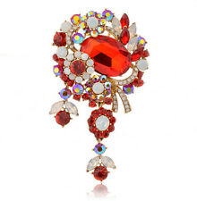 Elegante stile VINTAGE Red Crystal Diamante grandi BUSTINO BOUQUET SPILLA PIN br289