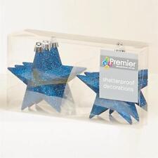 Decoración Árbol Navidad Paquete De 6 100mm Inastillable Glitter Stars - M Azul