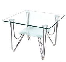 Table d''appoint / Table basse en verre Sécurit 10 mm et pied acier C01 NOUVEAU