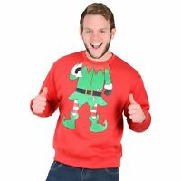 Adults Unisex Novelty Red Christmas Sweatshirt Jumper - Green Elf Suit X-Large