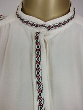 COUNTRY ROAD CREAM ETHNIC SHIRT TOP BLOUSE TUNIC SHIRT SUIT CAREER CASUAL XXS