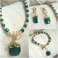 Elegant Crystal Emerald Necklace Bracelet Earrings Made With SWAROVSKI ELEMENTS