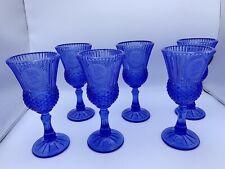 6 Vintage Fostoria For Avon Cameo Blue Goblets George & Martha Washington 1970s