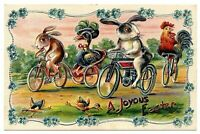 ~ Bunny Rabbits on Bikes Bicycles~Antique Easter Fantasy Postcard--a420