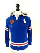 RALPH LAUREN Boys Hoodie Jumper 14-16 Years Blue Cotton Lightweight T-Shirt