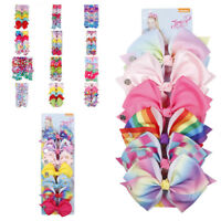 New Cartoon Rainbow Printed Grosgrain Ribbon Hair Bow Set For Girls Hairgrips
