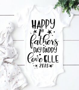 1st Fathers Day Personalised Baby Vest Romper Grow Fathers Day Gift Daddy Gift