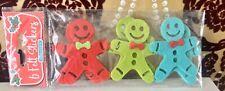 6 Felt Christmas Gingerbread Men  Sticker Embellishments - New