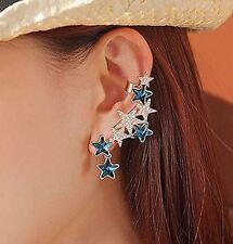 STAR ear cuff blue cluster LEFT EAR ONLY rhinestone piercing jewelry wrap