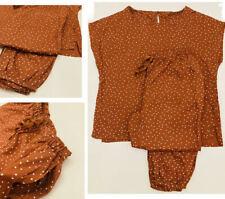 Womens PJ's Ex N3XT Short Sleeve Polka Dot Nightwear Pyjama Set Lounge PJs Brown