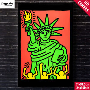 Keith Haring Statue of Liberty Poster Canvas (60x90cm/24x36in) Pop Art Print