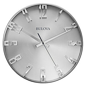 Bulova Director Satin Pewter Metal Case Wall Clock C4846
