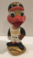 Vintage Baltimore Oriole Mascot Head MLB Gold Base Bobblehead Nodder - 1960's