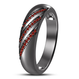 14K Black Gold Plated 925 Silver Red Garnet Engagement Band Round Cut Pinky Ring