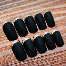 Classical Matte Black Acrylic Designer French False Nails 24 Pcs Nails With Glue