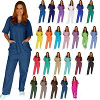 Men/Women Natural Uniforms Medical Nursing Scrub Set Top & Pants Unisex