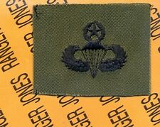 US Army Master Airborne Parachutist wing OD Green & Black cloth patch