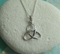 Sterling Silver Celtic Trinity Knot Pendant Necklace - UK Seller