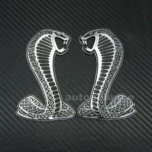 Left + Right Side Cobra Snake Emblem Badge Sticker Decal Ford Mustang Shelby GT