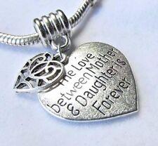 MOM MOTHER CHARM for European Bracelet LOVE MOTHER DAUGHTER FOREVER Pendant