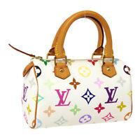 LOUIS VUITTON MINI SPEEDY 2WAY HAND BAG PURSE WHITE MONOGRAM MULTI M92645 34609