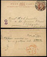 GB QV stationery 1890 Birmingham... Hoster Doppio Anello Ricevitore londra in rosso