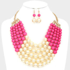 Statement Necklace Beaded Multi Strand 5 Row Layered Chunky Necklace Bib Pearl