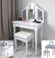 White Shabby Chic Vanity Dressing Table Makeup Dresser Mirror Stool Storage Set