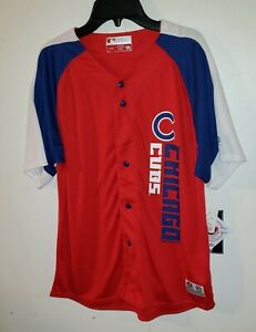 NEW Boys Chicago Cubs MLB T-Shirt Red w/Blue & White Arms Jersey True Fan