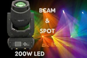 Moving Head BEAM SPOT 200W LED, 2 Goboräder, elektrischen Zoom + Fokus, 3-Prisma