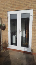WHITE UPVC FRENCH / PATIO DOORS 1600MM X 2100MM WITH GLASS