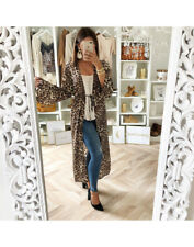 Women Ladies Casual Long Sleeve Leopard Print Loose Cardigan Jumper Tops Coat US