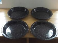 """4 - Speckled Plates Enamel Ware Graniteware 10"""" Camping Cookout"""