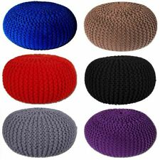 Large New 50cm Round Cotton Knitted Pouffe Ball Foot Stool Braided Cushion Seat