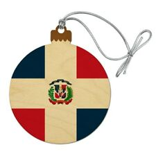 The Dominican Republic Country Flag Wood Christmas Tree Holiday Ornament
