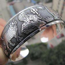 Hot! New Tibetan Tibet silver White Tiger Totem Bangle Cuff Bracelet J6