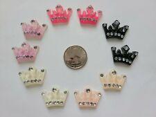 10 Pcs Lot Princess crown 3D Flatback Resin Cabochon Hair Bow Centers.