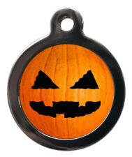 Pet Id tag - Halloween Pumpkin Picture dog or cat Tag 32mm or 24mm personalised