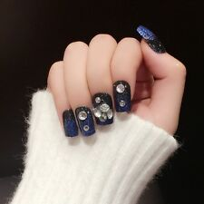 2017 New Black with Blue Glitter French 24pcs Square False Nails Faux Ongle Z399