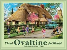 Ovaltine, Drink, Thatch Cottage, Morris Minor Car, Country Mini Metal Steel Sign