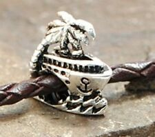 SILVER BEAD EUROPEAN CHARM FOR BRACELET H54 CRUISE BOAT TRAVEL VACATION SHIP NEW