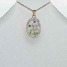 VERMEIL .925 STERLING SILVER  PENDANT WITH GEMSTONES RUBY BLUE SAPPHIRE EMERALD