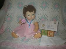 "Vintage Am. Char. Rubber TinyTears Doll~Caracul Mohair Wig~13"" Orig Dress (#505)"