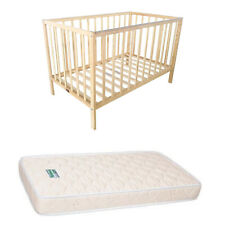 Wooden Baby Toddler Cot & Mattress Classic NurseryNatural