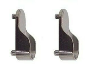 2 x Wardrobe Rail Hanging End Supports with Dowel Fitting Oval Rails 15mm ZINC